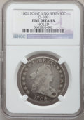 Early Half Dollars, 1806 50C Pointed 6, Stem--Holed--NGC Details. Fine. O-109. Fine.NGC Census: (58/1685). PCGS Population (70/871). Mintage: ...