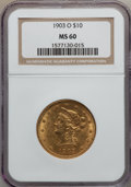 Liberty Eagles: , 1903-O $10 MS60 NGC. NGC Census: (85/730). PCGS Population(66/617). Mintage: 112,771. Numismedia Wsl. Price for problem fr...