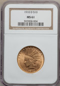 Indian Eagles: , 1910-D $10 MS61 NGC. NGC Census: (2565/7189). PCGS Population(868/6314). Mintage: 2,356,640. Numismedia Wsl. Price for pro...
