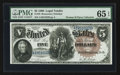 Large Size:Legal Tender Notes, Fr. 78 $5 1880 Legal Tender PMG Gem Uncirculated 65 EPQ.. ...