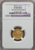 Liberty Quarter Eagles: , 1850-O $2 1/2 -- Mount Removed -- NGC Details. XF. NGC Census:(17/260). PCGS Population (24/97). Mintage: 84,000. Numismed...
