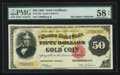 Large Size:Gold Certificates, Fr. 1193 $50 1882 Gold Certificate PMG Choice About Unc 58 EPQ.. ...