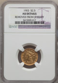 Liberty Quarter Eagles: , 1903 $2 1/2 -- Removed From Jewelry -- NGC Details. AU. NGC Census:(2/5581). PCGS Population (11/5607). Mintage: 201,000. ...
