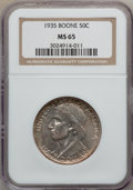 Commemorative Silver: , 1935 50C Boone MS65 NGC. NGC Census: (477/188). PCGS Population(548/242). Mintage: 10,000. Numismedia Wsl. Price for probl...
