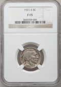 Buffalo Nickels: , 1921-S 5C Fine 15 NGC. NGC Census: (90/620). PCGS Population(145/883). Mintage: 1,557,000. Numismedia Wsl. Price for probl...