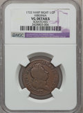 Colonials: , 1722 1/2P Hibernia Halfpenny, Type Two, Harp Right -- Scratches -- NGC Details. VG. NGC Census: (0/8). PCGS Population (0/2...