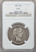 Barber Half Dollars: , 1894 50C Fine 12 NGC. NGC Census: (4/159). PCGS Population (7/216).Mintage: 1,148,972. Numismedia Wsl. Price for problem f...