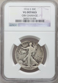 Walking Liberty Half Dollars: , 1916-S 50C -- Obv Damage -- NGC Details. VG. NGC Census: (41/554).PCGS Population (68/967). Mintage: 508,000. Numismedia W...
