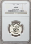 Washington Quarters: , 1942-S 25C MS64 NGC. NGC Census: (289/659). PCGS Population(514/778). Mintage: 19,384,000. Numismedia Wsl. Price for probl...