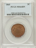 Two Cent Pieces: , 1865 2C MS64 Brown PCGS. PCGS Population (193/40). NGC Census:(623/408). Mintage: 13,640,000. Numismedia Wsl. Price for pr...
