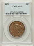 Large Cents: , 1836 1C AU50 PCGS. PCGS Population (11/105). NGC Census: (3/136).Mintage: 2,111,000. Numismedia Wsl. Price for problem fre...