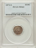 Seated Half Dimes: , 1873-S H10C MS62 PCGS. PCGS Population (46/168). NGC Census:(38/179). Mintage: 324,000. Numismedia Wsl. Price for problem ...