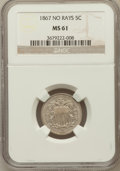 Shield Nickels: , 1867 5C No Rays MS61 NGC. NGC Census: (25/597). PCGS Population(6/557). Mintage: 28,800,000. Numismedia Wsl. Price for pro...