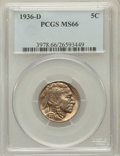 Buffalo Nickels: , 1936-D 5C MS66 PCGS. PCGS Population (704/63). NGC Census: (661/8).Mintage: 24,814,000. Numismedia Wsl. Price for problem ...