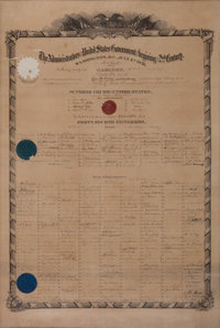 Unique and Historic Broadside Celebrating the July 4, 1876, Centennial of American Independence, Signed by President Gra...