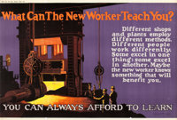 "What Can the New Worker Teach You? (1923). Mather and Company Motivational Poster (41.5"" X 28"")"