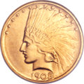 Indian Eagles, 1908-D $10 No Motto MS64 NGC....