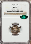 Proof Barber Dimes: , 1913 10C PR66 NGC. CAC. NGC Census: (15/12). PCGS Population(13/4). Mintage: 622. Numismedia Wsl. Price for problem free N...