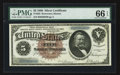 Large Size:Silver Certificates, Fr. 263 $5 1886 Silver Certificate PMG Gem Uncirculated 66 EPQ.. ...