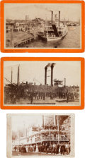 Photography:Cabinet Photos, Two Albumen Boudoir Cards: Three Steamers in Port- New Orleans....(Total: 3 Item)