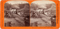 Photography:Stereo Cards, Central Pacific Railroad Albumen Stereoview: Train on Long Ravine Bridge....