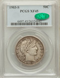 Barber Half Dollars: , 1903-S 50C XF45 PCGS. CAC. PCGS Population (12/82). NGC Census:(4/75). Mintage: 1,920,772. Numismedia Wsl. Price for probl...