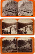 Photography:Stereo Cards, Three Central Pacific Railroad Albumen Stereoviews: Train at Cape Horn, Emigrant Gap Looking West, and Snow Sheds Below Cisco.... (Total: 3 Items)