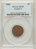Indian Cents: , 1886 1C Type Two XF45 PCGS. PCGS Population (18/140). NGC Census:(16/187). Numismedia Wsl. Price for problem free NGC/PCG...
