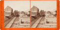 Photography:Stereo Cards, Albumen Stereoview: Brown's (Railroad) Station....