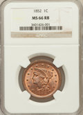 Large Cents, 1852 1C MS66 Red and Brown NGC. N-8, R.2....