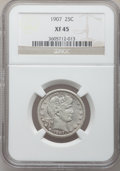 Barber Quarters: , 1907 25C XF45 NGC. NGC Census: (4/296). PCGS Population (5/413).Mintage: 7,192,575. Numismedia Wsl. Price for problem free...