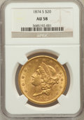 Liberty Double Eagles: , 1874-S $20 AU58 NGC. NGC Census: (1191/591). PCGS Population(287/402). Mintage: 1,214,000. Numismedia Wsl. Price for probl...