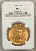 Saint-Gaudens Double Eagles: , 1915 $20 MS62 NGC. NGC Census: (716/781). PCGS Population(577/911). Mintage: 152,050. Numismedia Wsl. Price for problemfr...