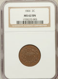 Two Cent Pieces: , 1866 2C MS62 Brown NGC. NGC Census: (52/286). PCGS Population(27/87). Mintage: 3,177,000. Numismedia Wsl. Price for proble...