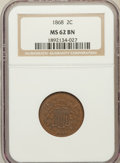 Two Cent Pieces: , 1868 2C MS62 Brown NGC. NGC Census: (70/272). PCGS Population(20/83). Mintage: 2,803,750. Numismedia Wsl. Price for proble...