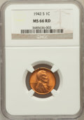 Lincoln Cents: , 1942-S 1C MS66 Red NGC. NGC Census: (964/673). PCGS Population(1706/315). Mintage: 85,590,000. Numismedia Wsl. Price for p...