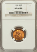 Lincoln Cents: , 1942-S 1C MS66 Red NGC. NGC Census: (964/673). PCGS Population(1715/315). Mintage: 85,590,000. Numismedia Wsl. Price for p...