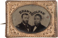 Political:Ferrotypes / Photo Badges (pre-1896), Grant & Colfax: Unlisted Gem Ferrotype Jugate. ...