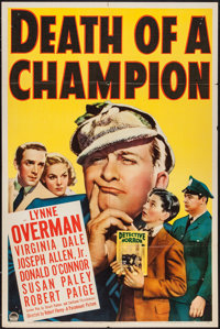 """Death of a Champion (Paramount, 1939). One Sheet (27"""" X 41""""). Comedy"""