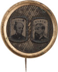 Political:Ferrotypes / Photo Badges (pre-1896), Seymour & Blair: Fancy Ferrotype Jugate....