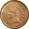 Indian Cents: , 1859 1C MS65 NGC. The marvelously preserved surfaces of this Gem Indian cent display subtle variations of champagne and tan...