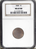 Indian Cents: , 1868 1C MS65 Red and Brown NGC. Nicely struck with vibrant orange-copper surfaces that turn to medium brown in the center. ...