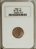Indian Cents: , 1869 1C MS65 Red and Brown NGC. Scintillating luster flashes from each side of this well struck Gem. The unmarked surfaces ...