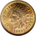 Indian Cents: , 1869 1C MS66 Red and Brown NGC. A popular early Indian cent and a challenging one as well with any amount of original red r...