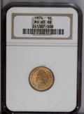 Indian Cents: , 1874 1C MS65 Red and Brown NGC. Vibrant cartwheel luster illuminates this dappled gold and tan Gem. The date digits are sli...