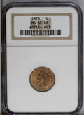 Indian Cents: , 1875 1C MS65 Red and Brown NGC. The reddish-orange surfaces have mellowed in parts; this is more noticeable on the reverse ...