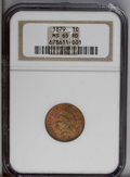 Indian Cents: , 1879 1C MS65 Red NGC. A vibrant red-copper coin with cherry-magenta patches. A boldly struck and radiant example with great...