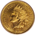 1908-S 1C MS66 Red PCGS. Subtle golden bronze color with a hint of green encircles the devices of this Gem, while the ce...