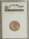 Proof Indian Cents: , 1872 1C PR63 Red ANACS. Sharply struck with bright proof surfaces that display pleasing salmon-gold toning and watery refle...