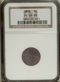 Proof Indian Cents: , 1876 1C PR66 Red and Brown NGC. A pleasing example with attractively clean surfaces and magnificent blue, rose, and amber i...